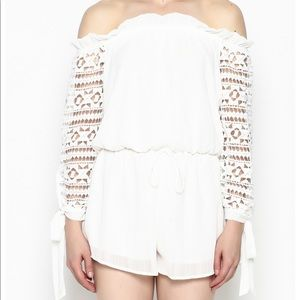 SAGE white off the shoulder crochet sleeve romper